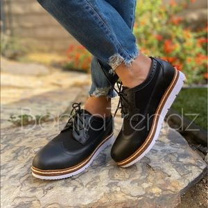 Vegan Leather Black Wing Tip White Sole Oxfords